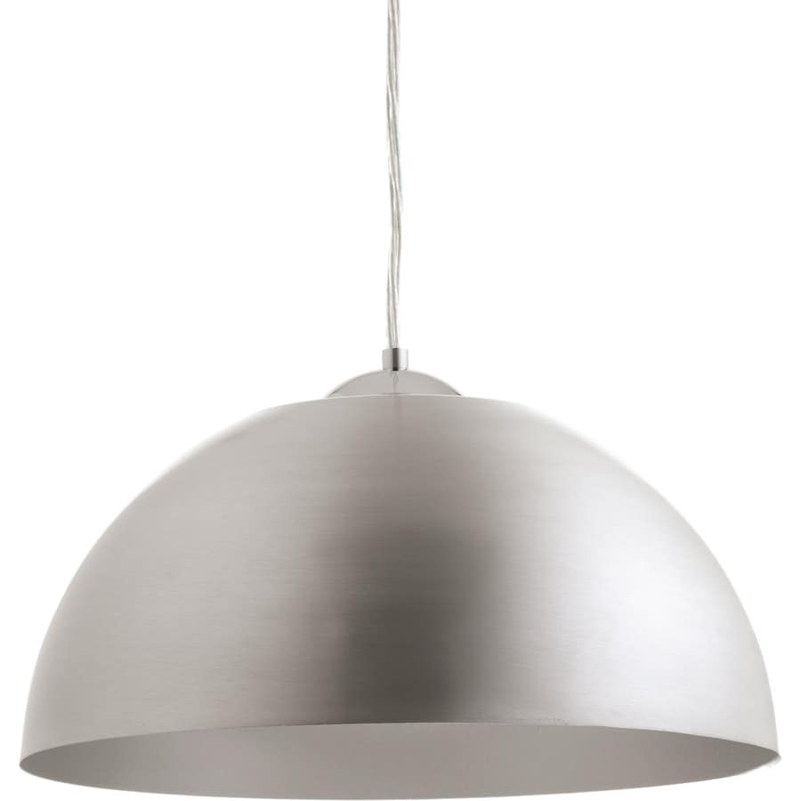 Progress Lighting Dome 16-in Satin Aluminum Dome LED Pendant