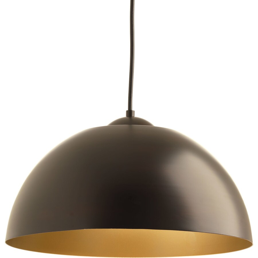 Progress Lighting Dome 16-in Antique Bronze Dome LED Pendant