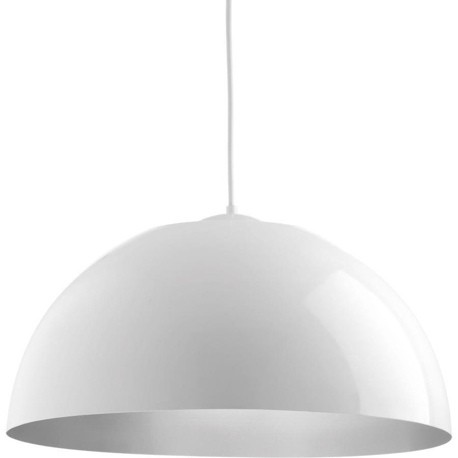 Progress Lighting Dome 22-in White Dome LED Pendant