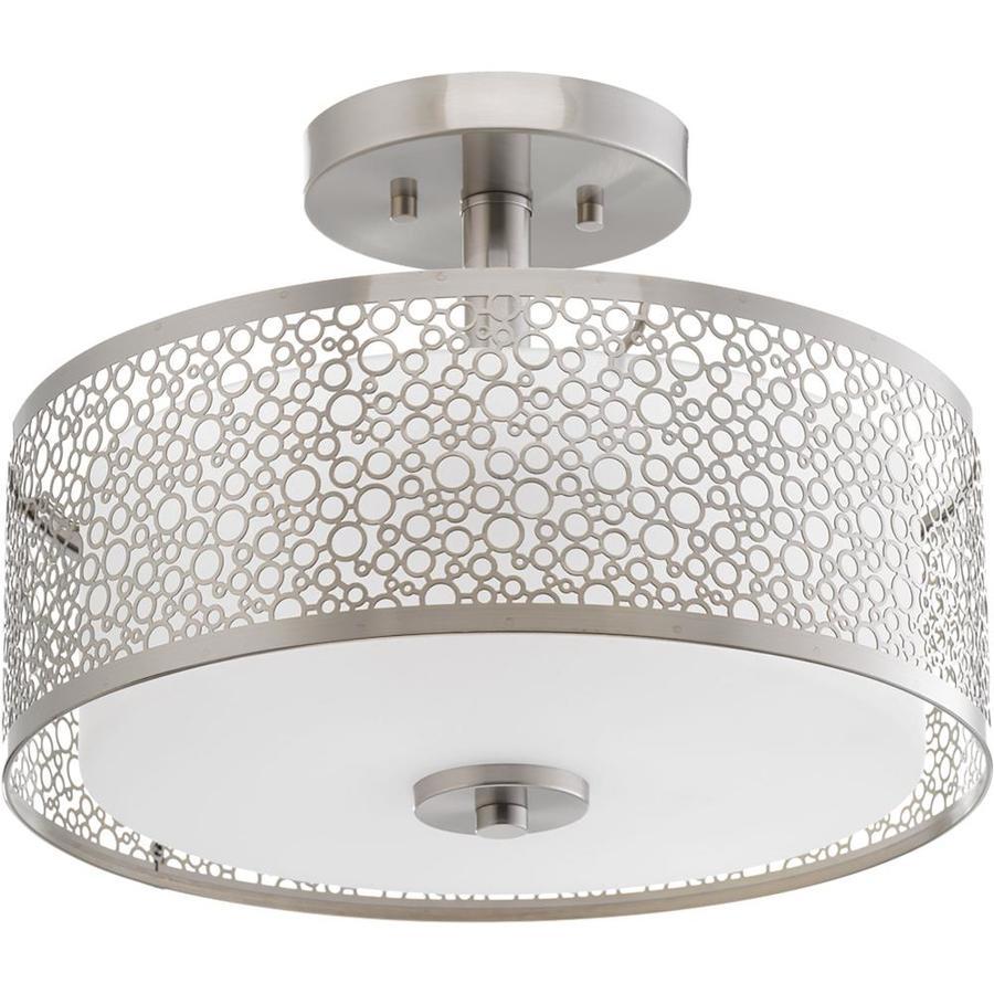 Progress Lighting Mingle LED 14-in W Brushed Nickel Etched Glass LED Semi-Flush Mount Light ENERGY STAR