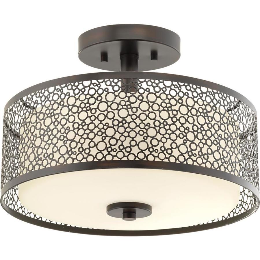Progress Lighting Mingle LED 14-in W Antique Bronze Frosted Glass LED Semi-Flush Mount Light ENERGY STAR