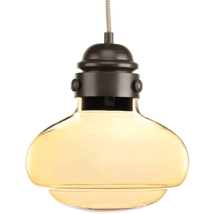 Progress Lighting Beaker 10.25-in Antique Bronze Industrial Single Tinted Glass Cylinder Pendant