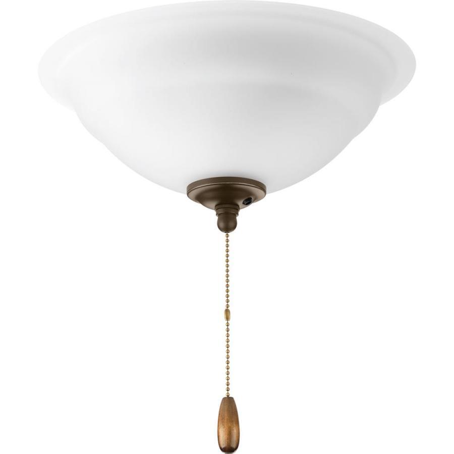 Progress Lighting Fans 3-Light Antique Bronze Incandescent Ceiling Fan Light Kit with Etched Glass/Shade