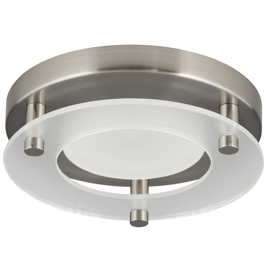 Shop flush mount lights at lowes progress lighting 724 in w brushed nickel led flush mount light energy star aloadofball