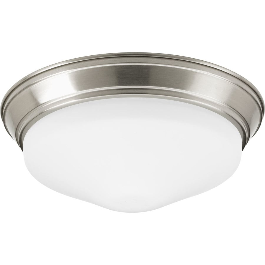 Progress Lighting 11-in W Brushed Nickel LED Flush Mount Light