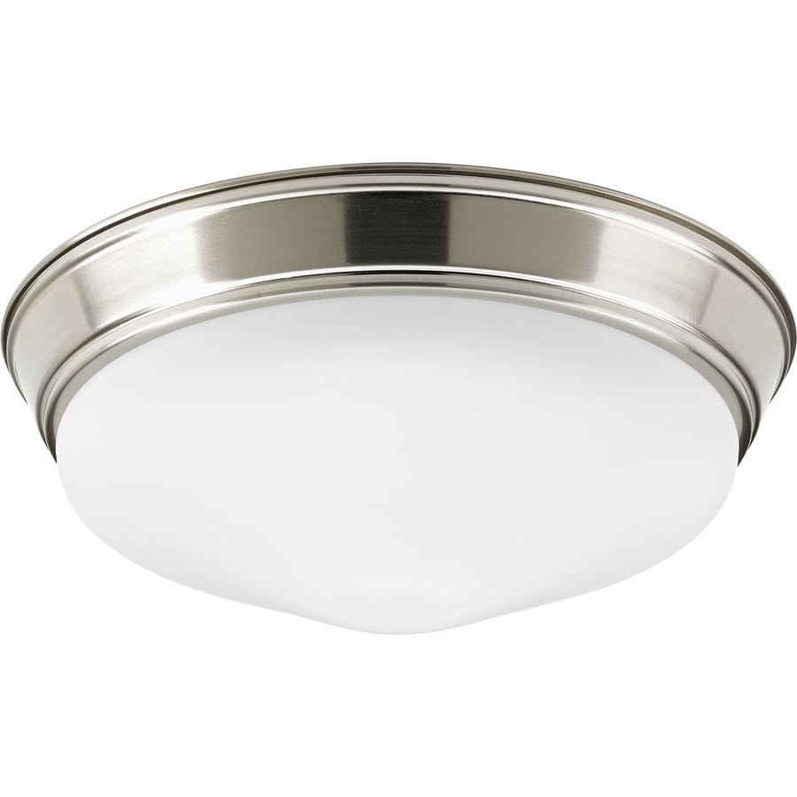 Progress Lighting 13.25-in W Brushed Nickel Integrated Flush Mount Light