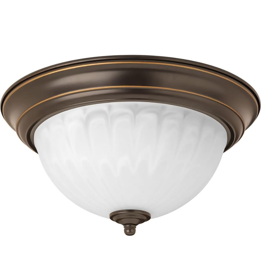 Progress Lighting 11.375-in W Antique Bronze Integrated Flush Mount Light