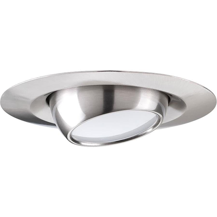 Recessed lighting trim clips : Progress lighting led recessed brushed nickel eyeball