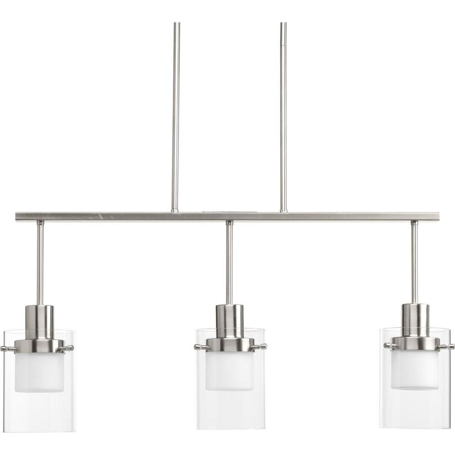 3 Light Led Ceiling Pendant Brushed Nickel Contemporary: Progress Lighting Moderna 3-Light Brushed Nickel Modern