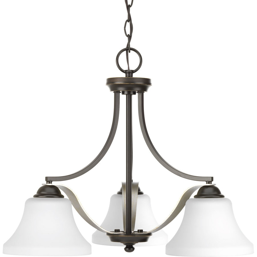 Progress Lighting Noma 23-in 3-Light Antique Bronze Etched Glass Shaded Chandelier