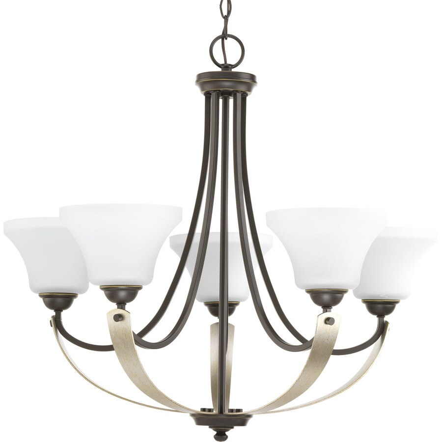 Progress Lighting Noma 28.5-in 5-Light Antique Bronze Etched Glass Shaded Chandelier