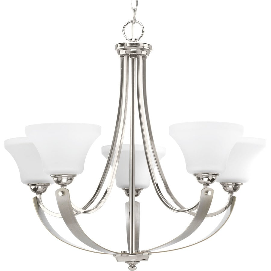 Progress Lighting Noma 28.5-in 5-Light Polished Nickel Etched Glass Shaded Chandelier