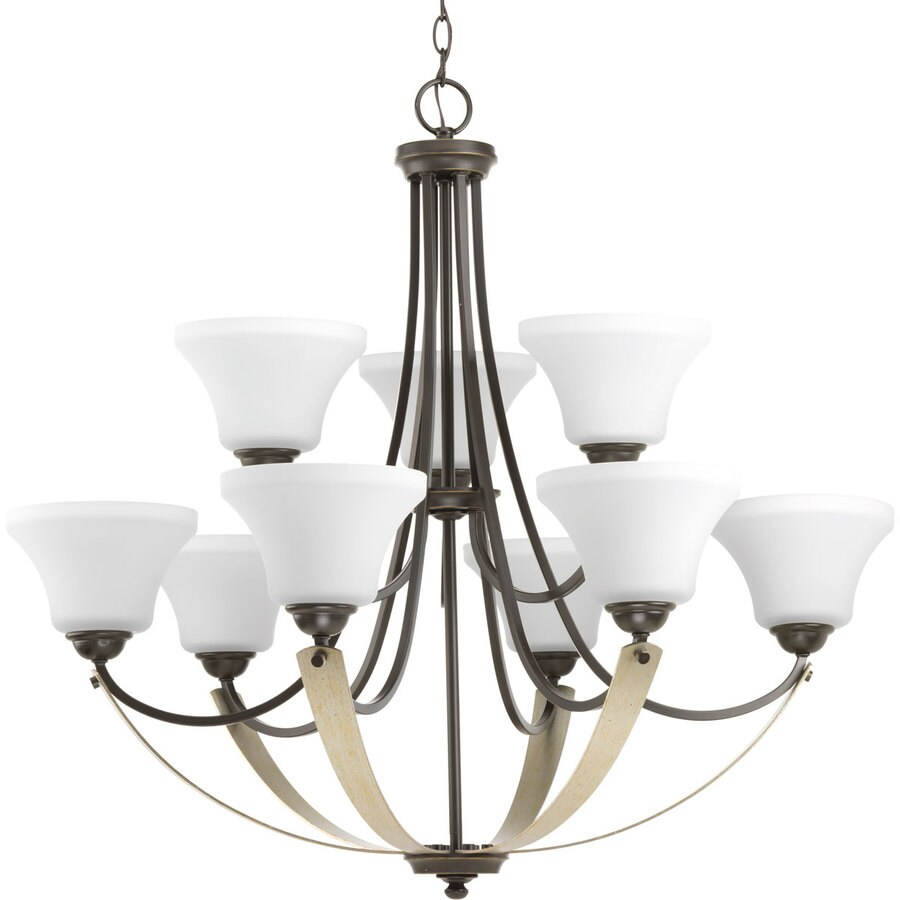 Progress Lighting Noma 34-in 9-Light Antique Bronze Etched Glass Shaded Chandelier