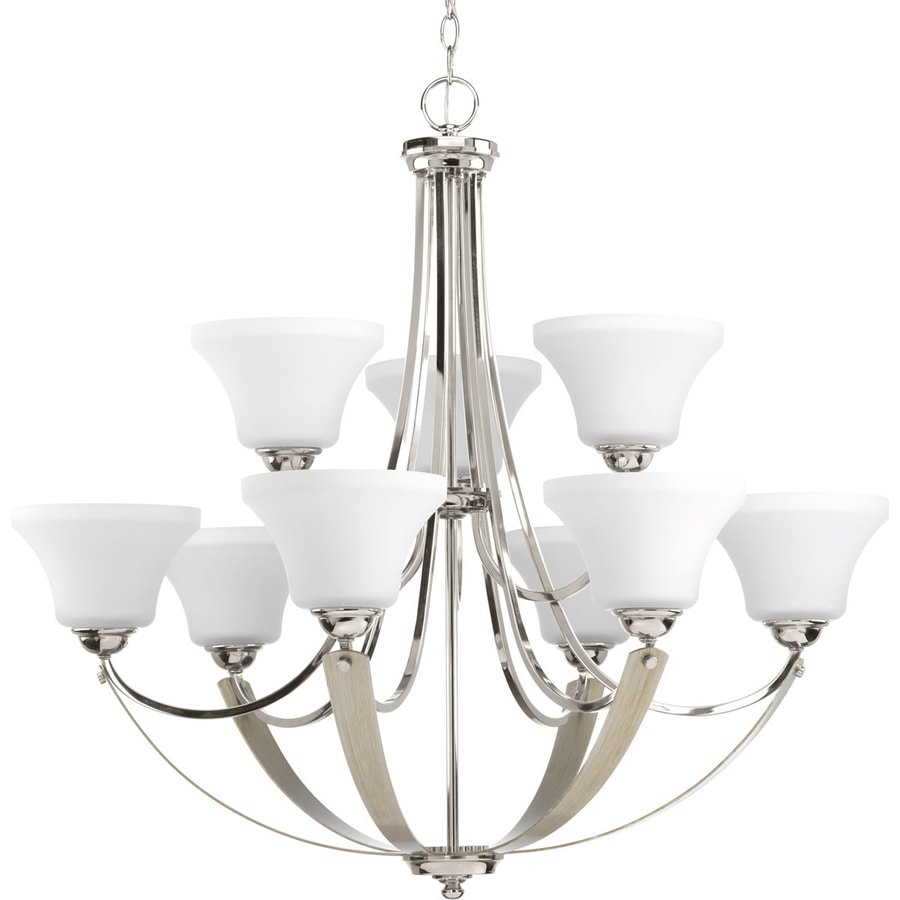 Progress Lighting Noma 34-in 9-Light Polished Nickel Hardwired Etched Glass Shaded Chandelier