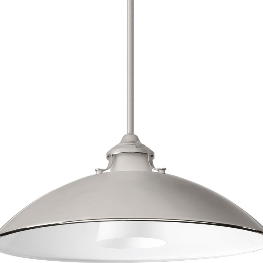 Progress Lighting Carbon 19.75-in Polished Nickel Single Etched Glass Pendant