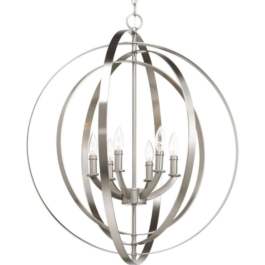 Progress Lighting Equinox 27.75-in Brushed Nickel Multi-Light Cage Pendant