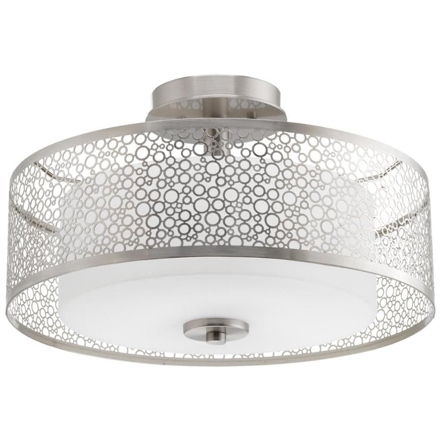Progress Lighting Mingle 10-in W Brushed Nickel Frosted Glass Semi-Flush Mount Light