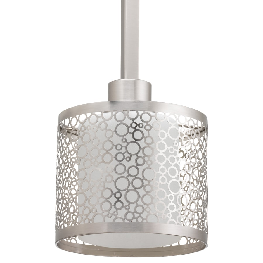 Progress Lighting Mingle 6-in Brushed Nickel Mini Etched Glass Drum Pendant