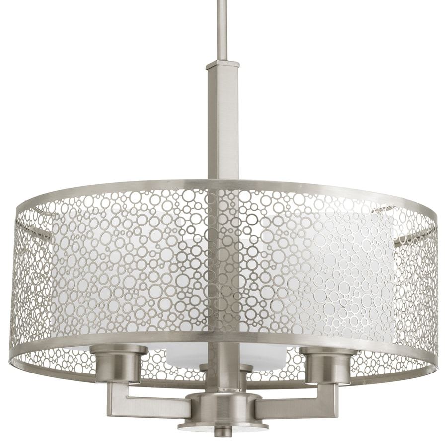 Progress Lighting Mingle 17-in Brushed Nickel Multi-Light Etched Glass Drum Pendant