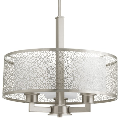 Mingle Brushed Nickel Multi Light Transitional Etched Gl Drum Pendant