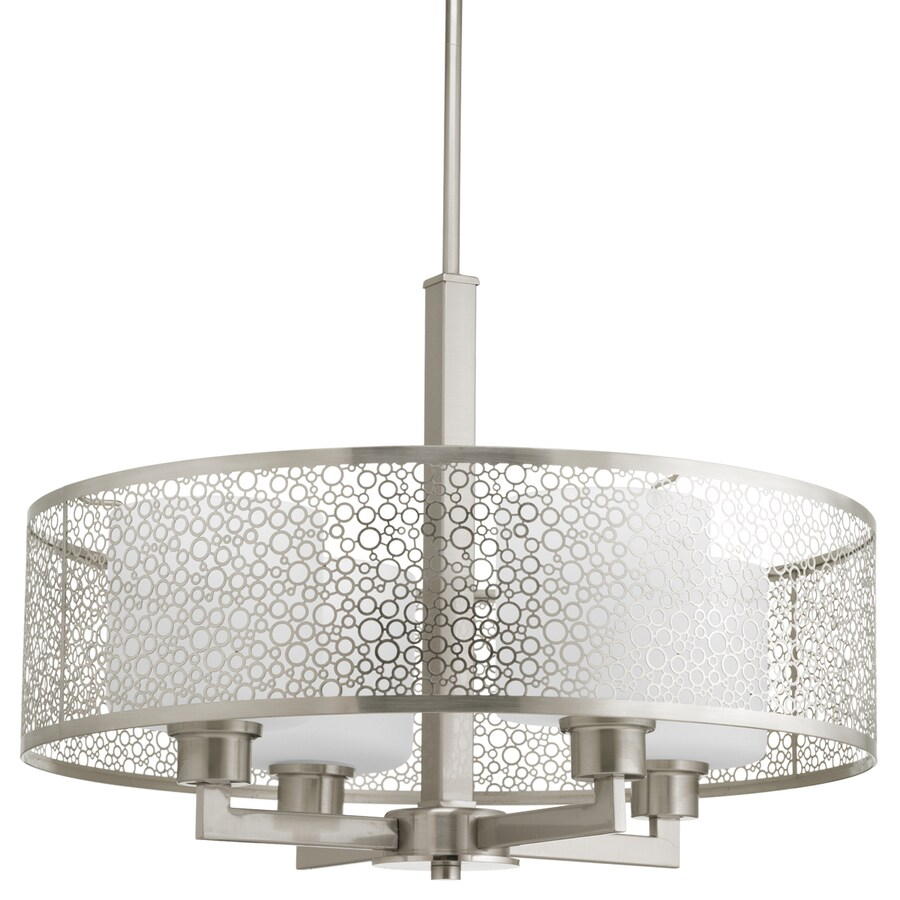 Progress Lighting Mingle 21-in Brushed Nickel Multi-Light Etched Glass Drum Pendant