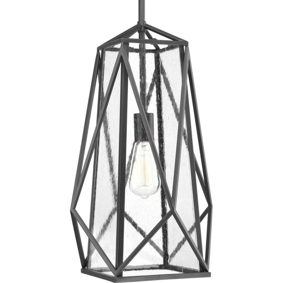 Progress Lighting Marque 12-in Graphite Craftsman Hardwired Single Seeded glass Cage Pendant