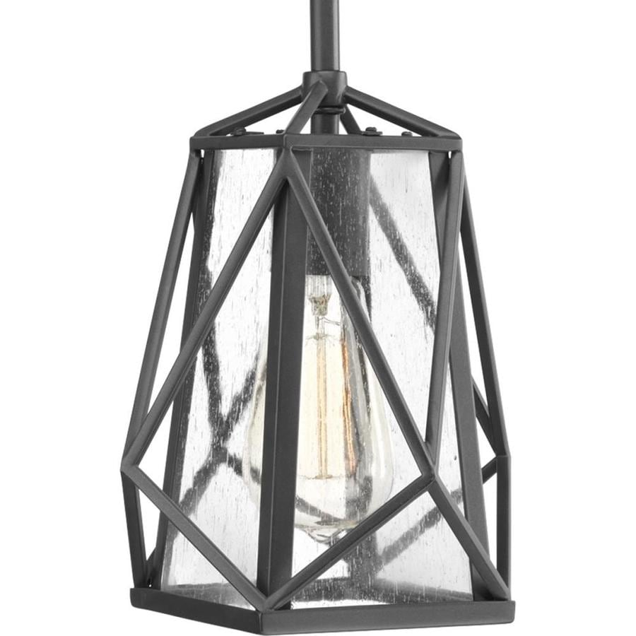Progress Lighting Marque 7.75-in Graphite Hardwired Single Seeded glass Pendant