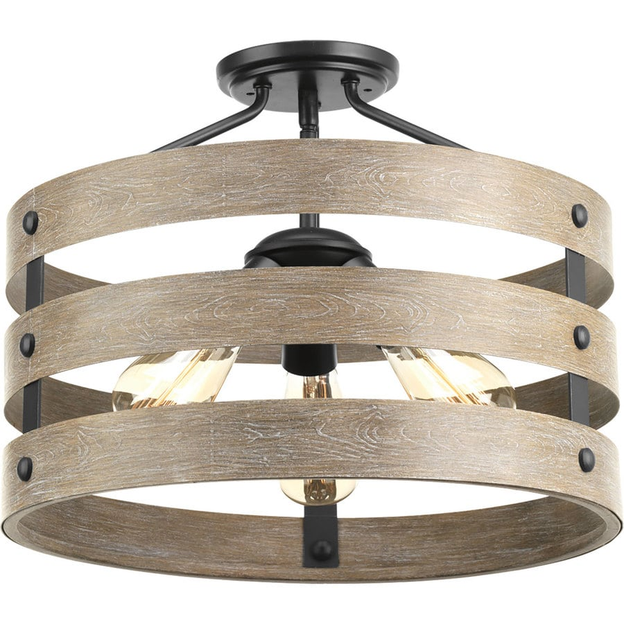 Progress Lighting Gulliver 17-in W Graphite No Glass Semi-Flush Mount Light