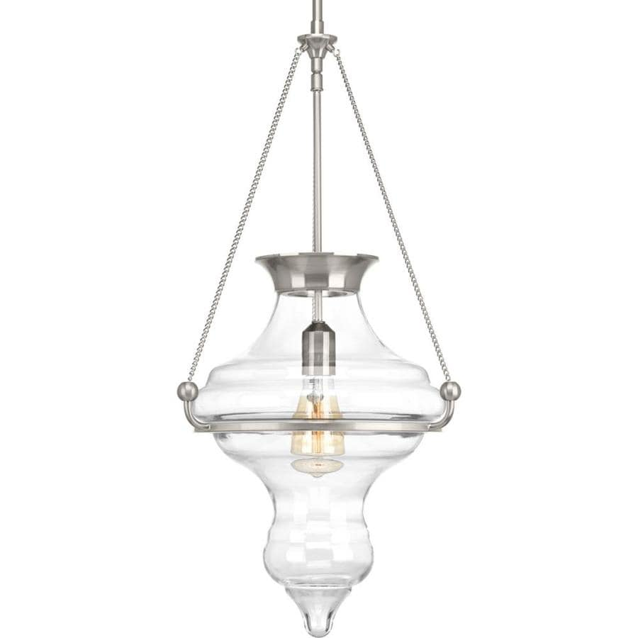 Progress Lighting Cazbah 14.375-in Brushed Nickel Hardwired Single Clear Glass Standard Pendant