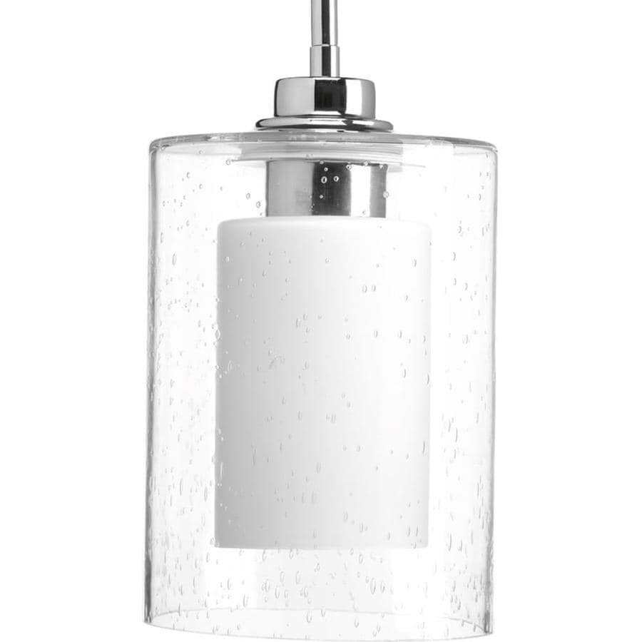 Progress Lighting Double Glass 5.875-in Polished Chrome Single Seeded Glass Pendant