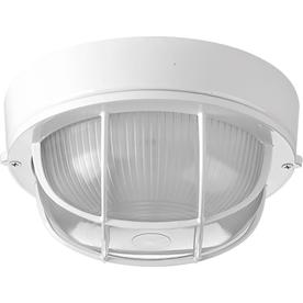Shop outdoor flush mount lights at lowes progress lighting bulkheads 7875 in w white outdoor flush mount light workwithnaturefo