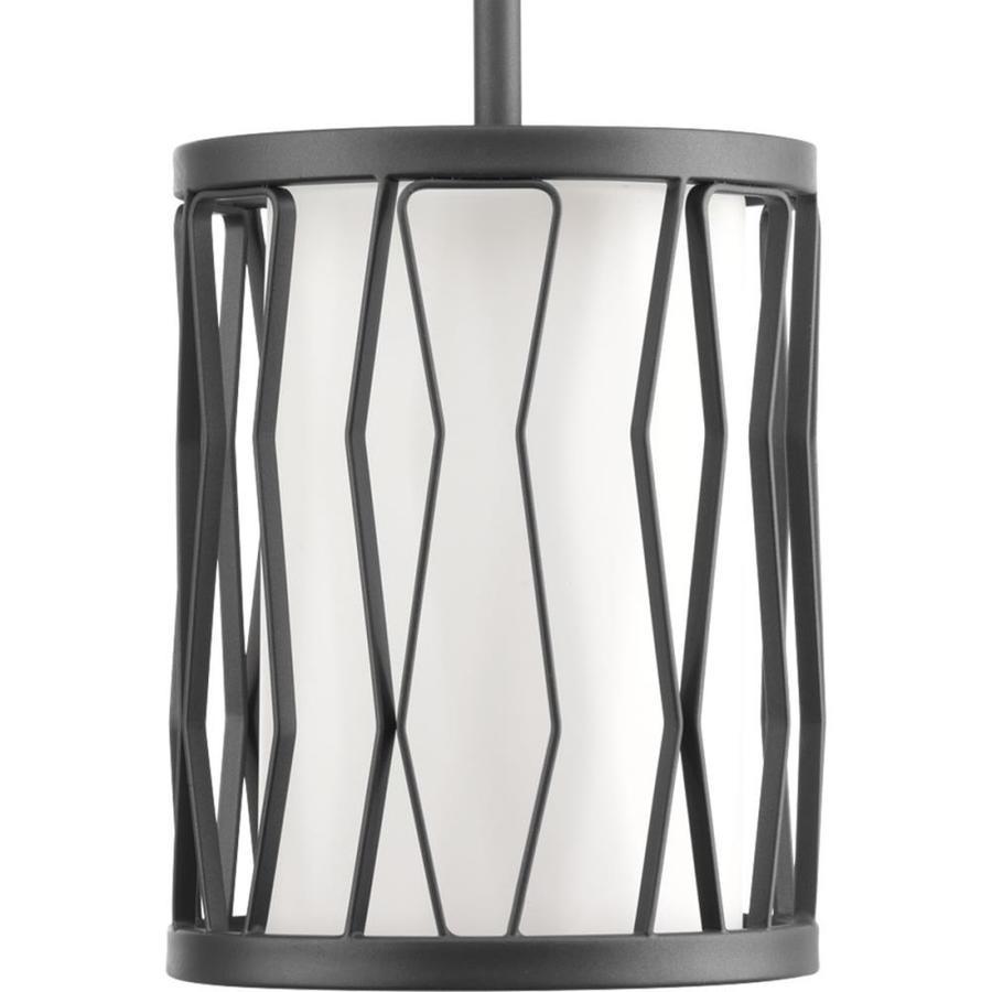 Progress Lighting Wemberly 6.375-in Graphite Novelty Single White Glass Cylinder Pendant