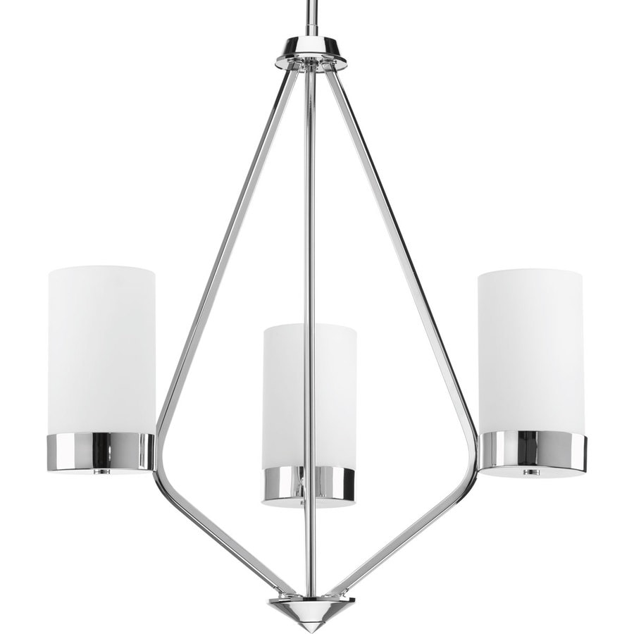 Progress Lighting Elevate 21.75-in 3-Light Polished Chrome Etched Glass Shaded Chandelier