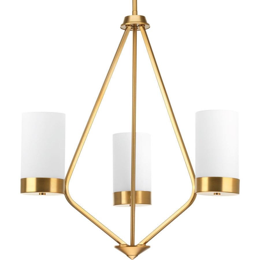 Progress Lighting Elevate 21.75-in 3-Light Brushed Bronze Hardwired Etched Glass Shaded Chandelier