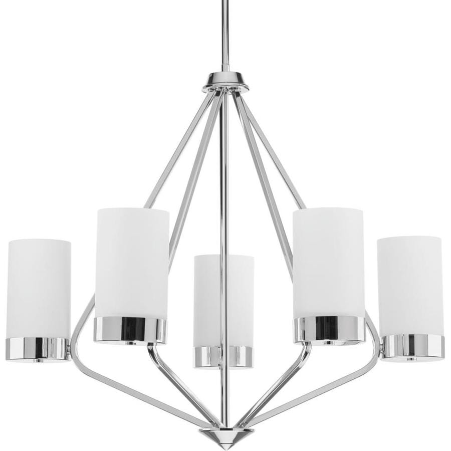 Progress Lighting Elevate 27.375-in 5-Light Polished Chrome Etched Glass Shaded Chandelier
