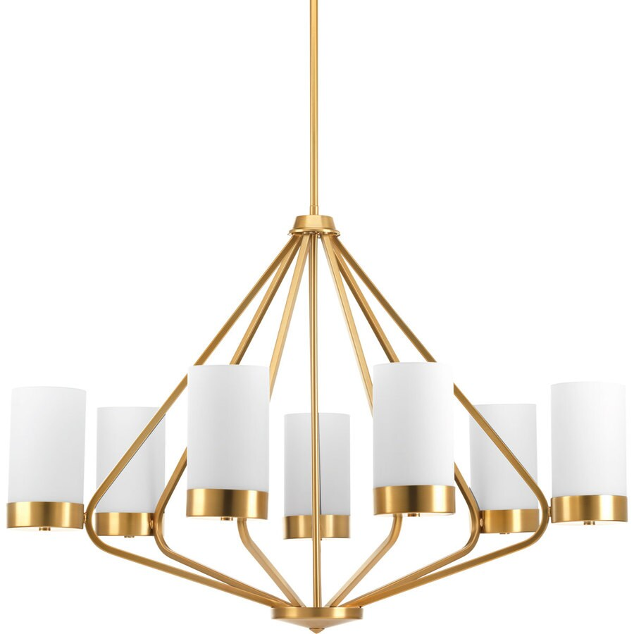 Progress Lighting Elevate 32.625-in 7-Light Brushed Bronze Etched Glass Shaded Chandelier