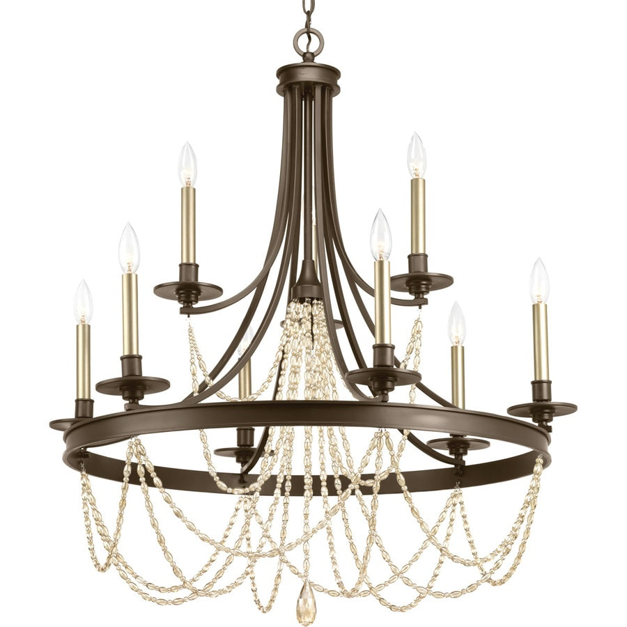 Progress Lighting Allaire 32-in 9-Light Antique Bronze Tiered Chandelier