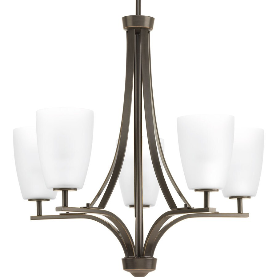 Progress Lighting Leap 25-in 5-Light Antique Bronze Etched Glass Shaded Chandelier