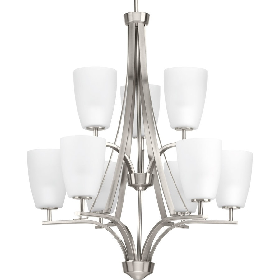 Progress Lighting Leap 26.375-in 9-Light Brushed Nickel Etched Glass Shaded Chandelier