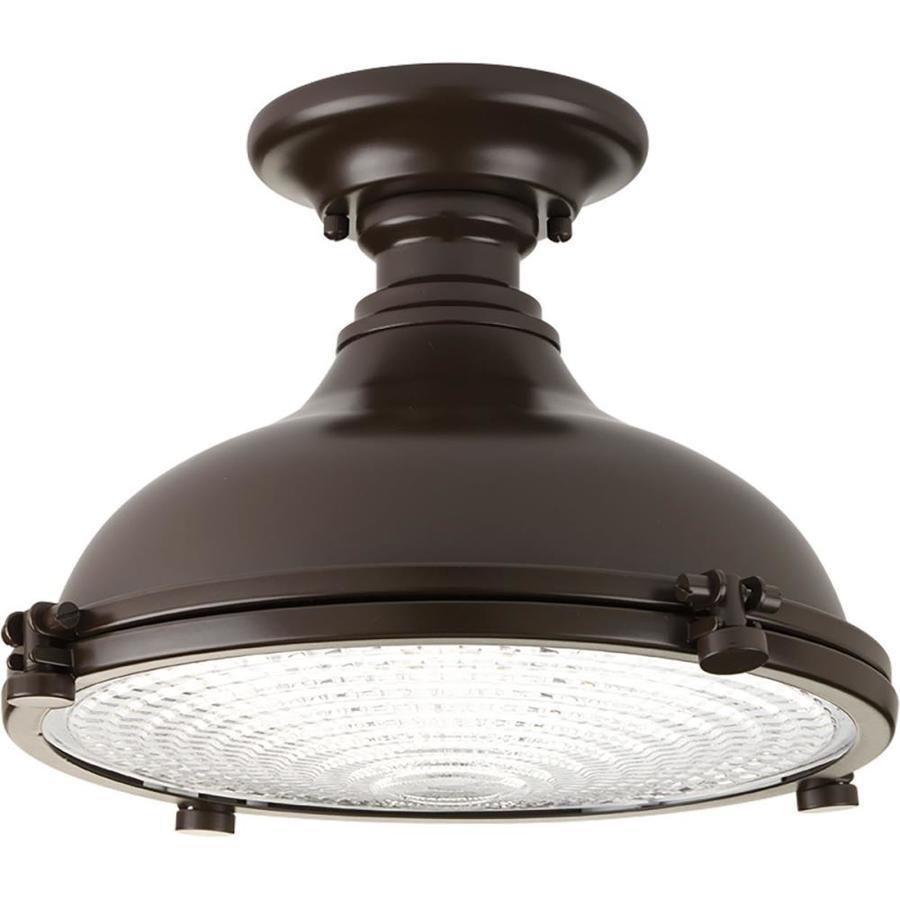 Progress Lighting Fresnel Lens 12.125-in W Oil Rubbed Bronze Clear Glass LED Semi-Flush Mount Light ENERGY STAR