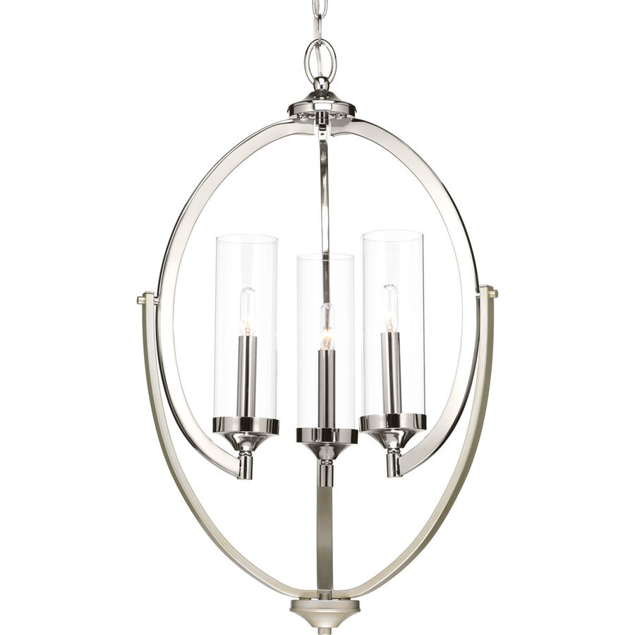 Progress Lighting Evoke 17.625 3-Light Polished Nickel Hardwired Clear glass Cage Chandelier