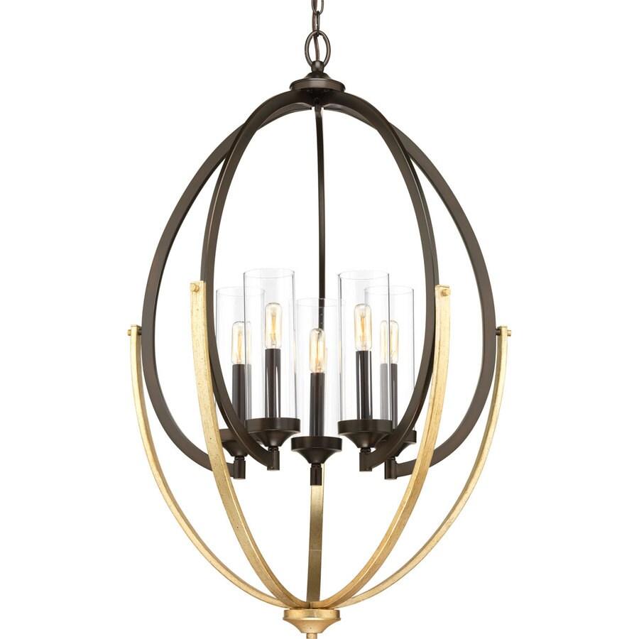 Progress Lighting Evoke 24.625-in 5-Light Antique Bronze Industrial Cage Chandelier