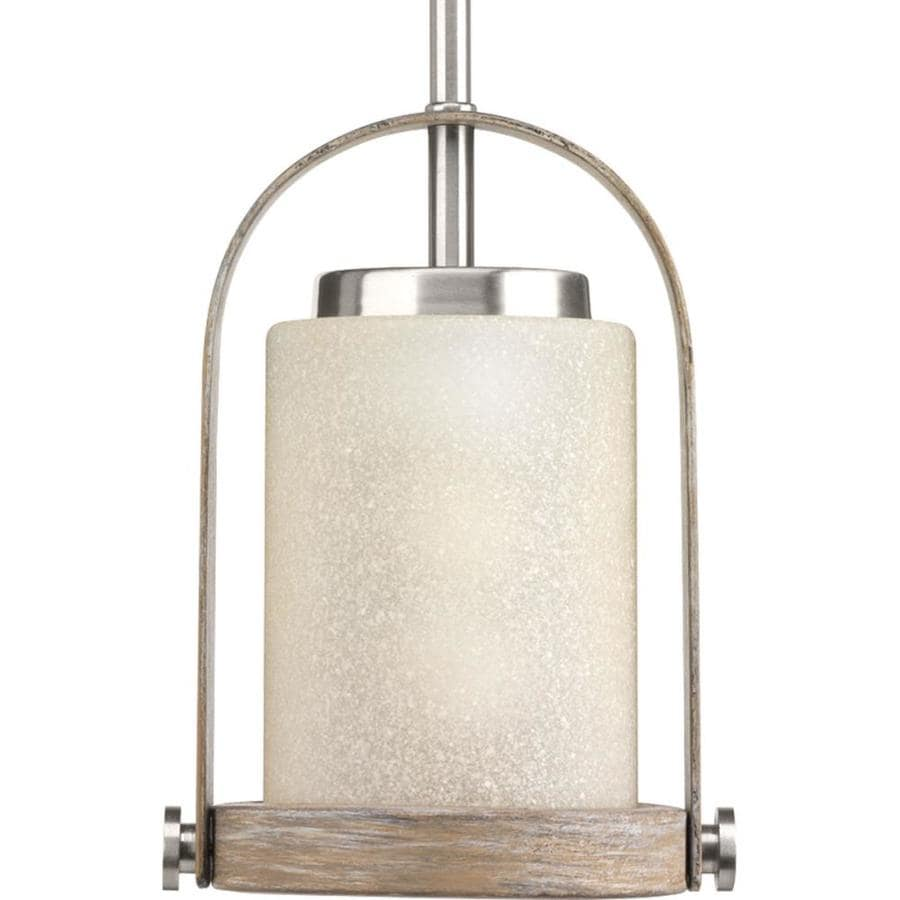 Progress Lighting Aspen Creek 6.625-in Brushed Nickel Hardwired Single Tinted Glass Standard Pendant