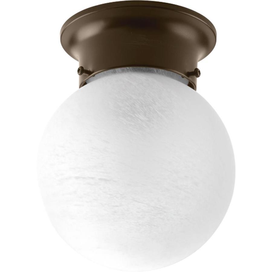 Progress Lighting Glass Globes 6-in W Antique Bronze Flush Mount Light