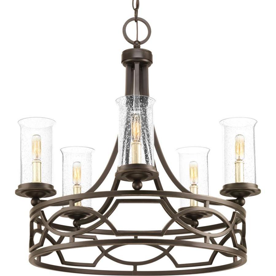 Progress Lighting Soiree 25.625 5-Light Antique Bronze Hardwired Seeded glass Abstract Chandelier