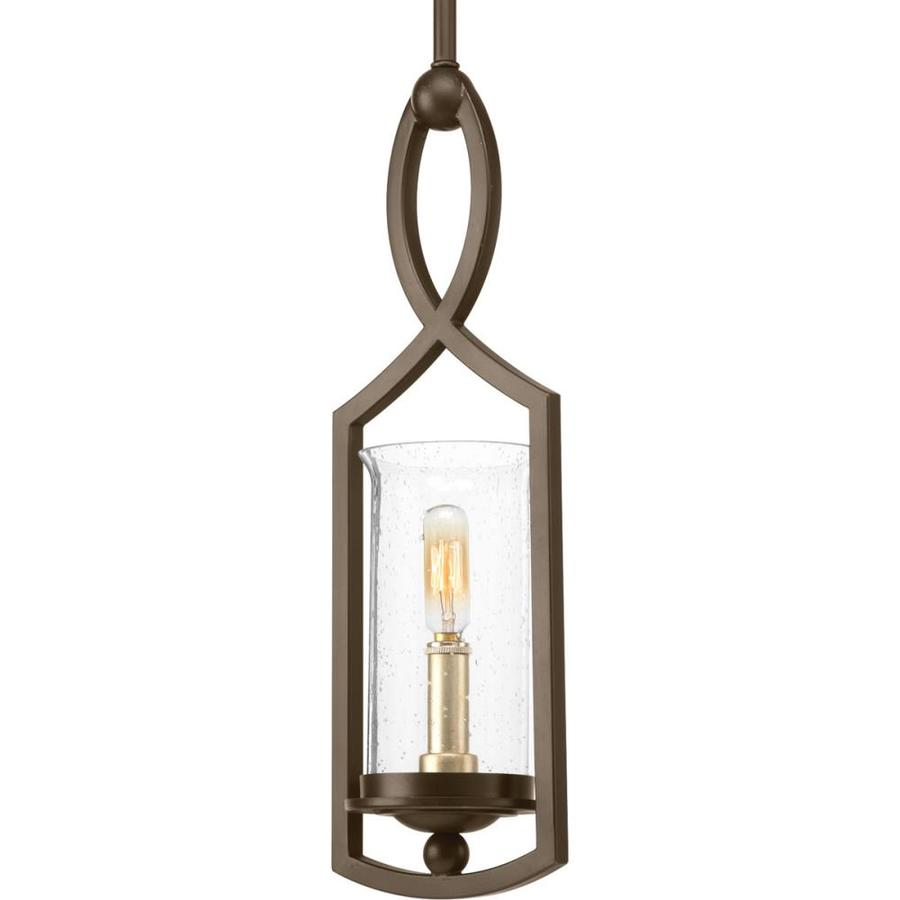 Progress Lighting Soiree 5.625-in Antique Bronze Single Seeded Glass Pendant