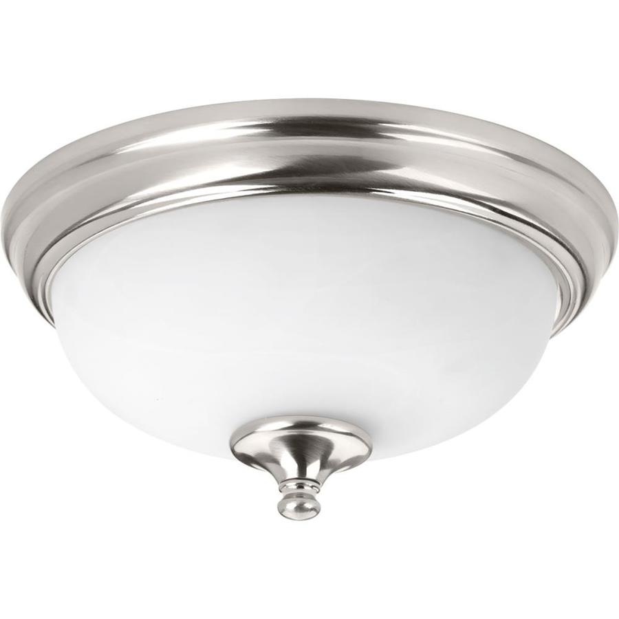 Progress Lighting LED Alabaster 11-in W Brushed Nickel LED Flush Mount Light ENERGY STAR