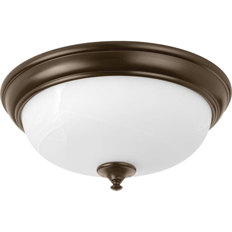 Progress Lighting LED Alabaster 15-in W Antique Bronze LED Flush Mount Light ENERGY STAR