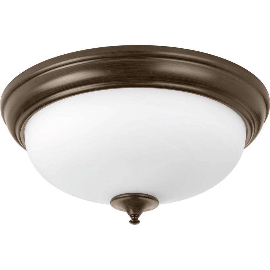 Progress Lighting LED Alabaster 19-in W Antique Bronze LED Flush Mount Light ENERGY STAR