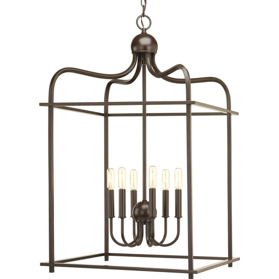 Progress Lighting Assembly Hall 20-in Antique Bronze Rustic Single Cage Pendant